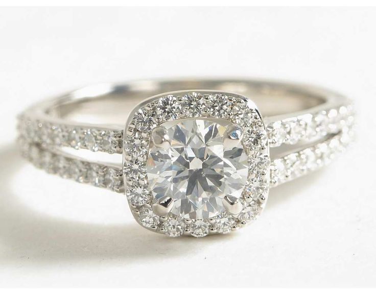 Split Shank Halo Diamond Engagement Ring | Blue Nile Engagement and Wedding Rings