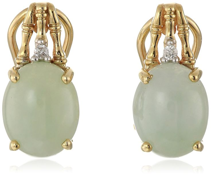 10k Yellow Gold Oval Green Jade and Diamond Accent Earrings:
