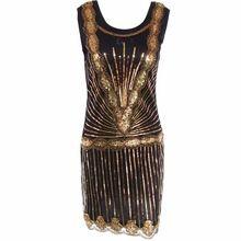 Kadın Vintage 1920 s Ilham Shining Siyah Altın Boncuklu Pullu Art Deco Ile Sineklik Elbise mükemmel düğün parti elbise(China (Mainland))