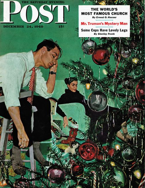 Trimming The Tree, art by George Hughes.  Cover detail from December 24, 1949 Saturday Evening Post.: Trees Art, Vintage Christmas, Trees George, Saturday Evening Posts, 1949 Saturday, George Hugh, December 24, Magazines Covers, Christmas Trees