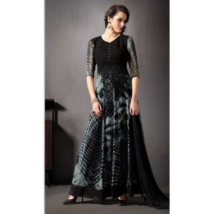 Diamond Work Georgette Banarasi Silk Black Anarkali Suit -  10025 ( 663 )