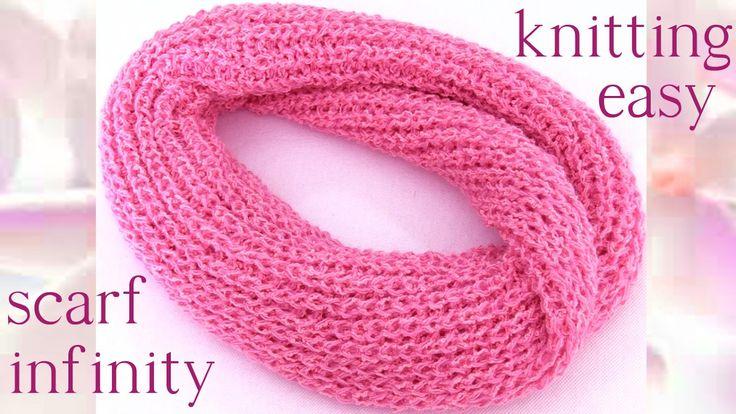 Como tejer Bufanda Infinita circular tubular fácil a dos agujas