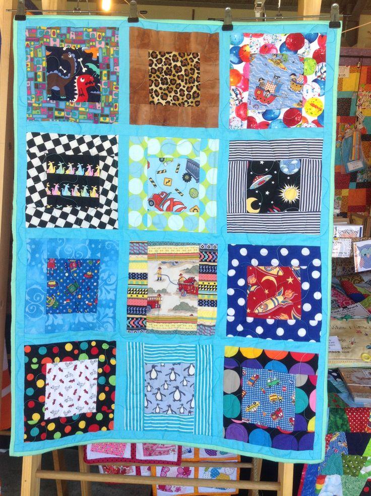 Little Kids Bright – Lite Blue – 12 Patch Design 27.5 x 36 Inch Cot Size