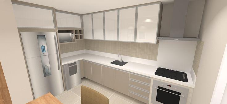 Cozinha em L cores gianduia e vidros brancos com silestone branco
