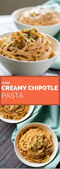 This vegan creamy chipotle pasta is so easy to make. The smokiness of the chipotle and the acidity of the lemon juice make it irresistible. A vegan Mexican recipe.