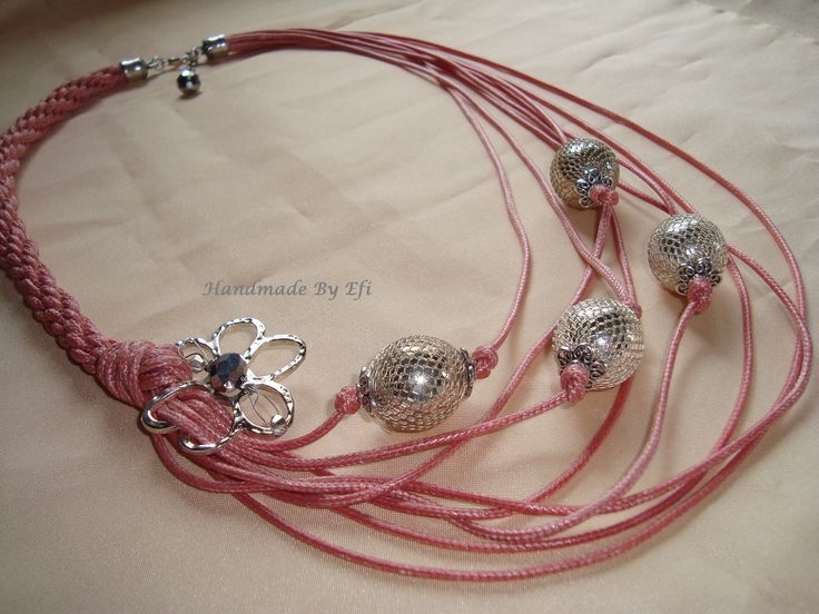 #fashion   long necklace with silver beads and metal flower....   https://www.facebook.com/pages/Handmade-Creations-by-Efi/187659788043676