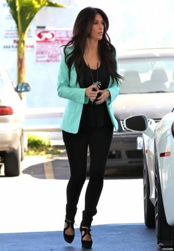 Kim Kardashian mint green blazer