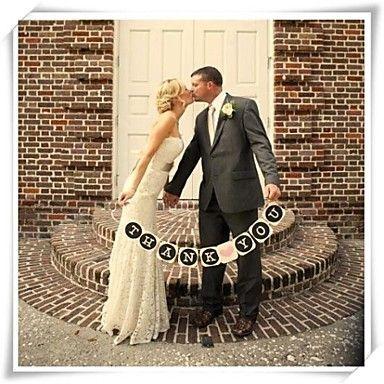 """wedding decor kleine """"dank u"""" met roze hart banner foto props – EUR € 9.49"""