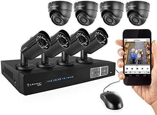 Amcrest 1080P HD Over Analog (HDCVI) 8CH Video Security System  Eight 2.1 MP Weatherproof IP66 Bullet & Dome Cameras 65ft IR LED Night Vision 65ft IR LED Night Vision Long Distance Transmit Range (984ft) Pre-Installed 3TB HD for 360 Hours 8Ch Recording 1080p @ 30fps Quick QR Code Smartphone Access USB Backup and More
