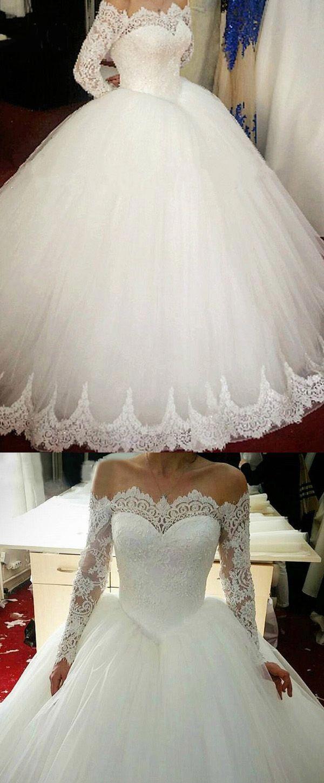 [228.00] Eleganter Tüll Off-the-Shoulder-Ausschnitt Baskische Taille Ballkleid Brautkleid Mit Perlen Spitzenapplikationen