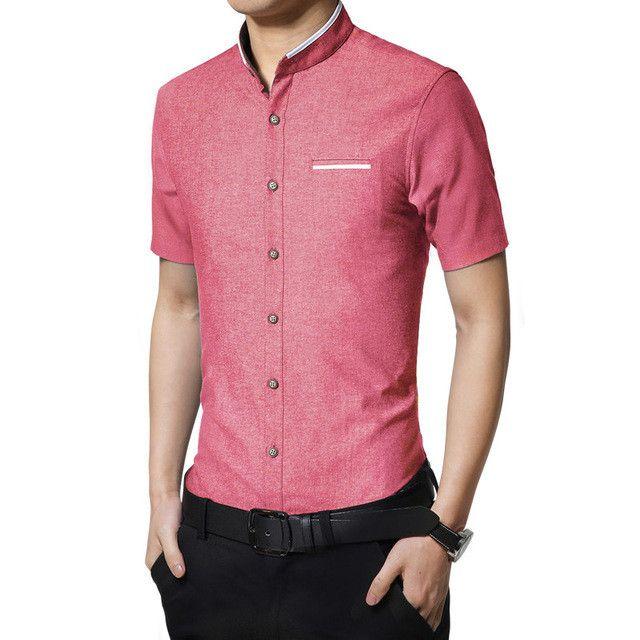 Fashion Summer Clothing Mens Short Sleeve Dress Shirt 2017 New Mandarin Collar Slim Fit Shirt M-5XL Red Casual Shirt Men Clothes