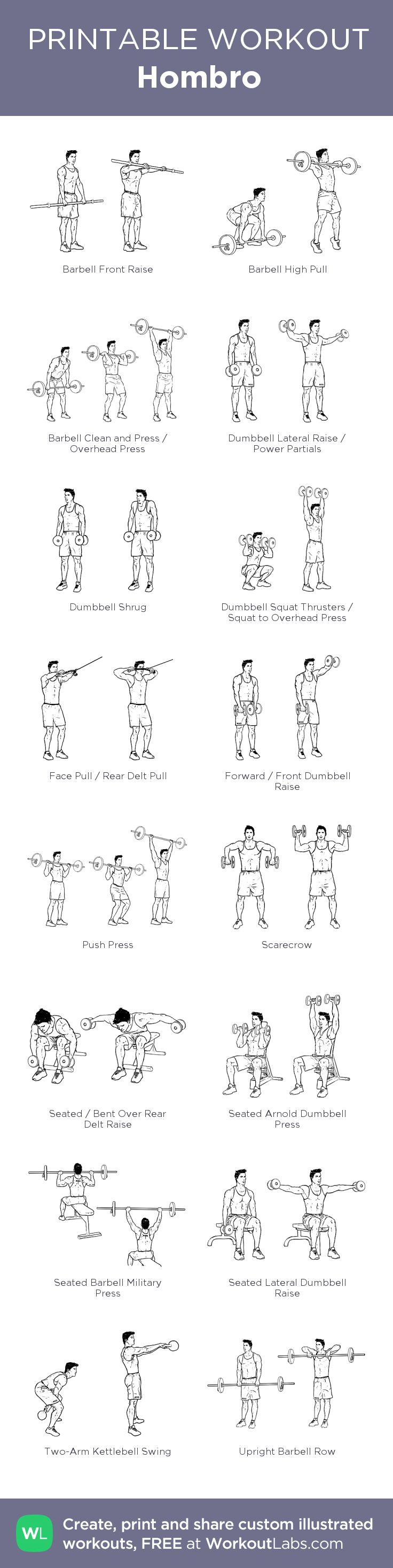 Hombro:my visual workout created at WorkoutLabs.com • Click through to customize and download as a FREE PDF! #customworkout