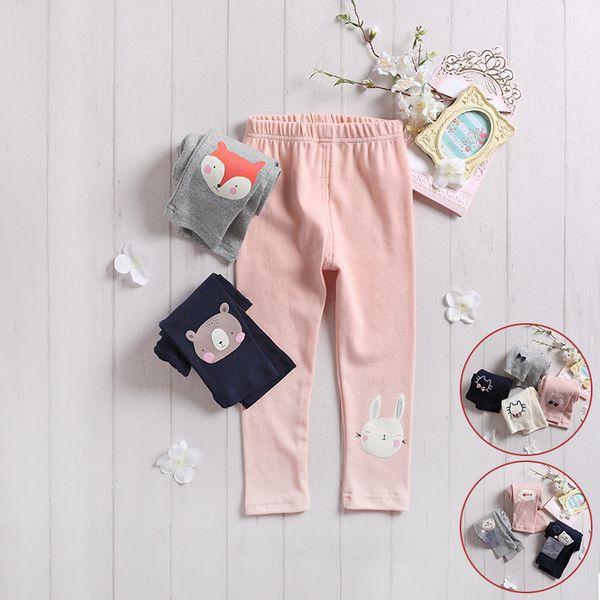 Леггинсы весна и осень девочек хлопок стрейч брюки дикий ребенок одежда новый тонкий Fit классические брюки детские повседневные брюки