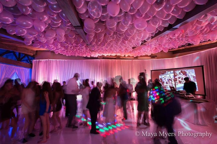 Using lighting and balloons to create a unique ceiling effect! Creative Team: Photo: @mayamyersPhoto   Planning: @brightblueevents   Lighting: @peventlighting   Entertainment @besmilegoodlife