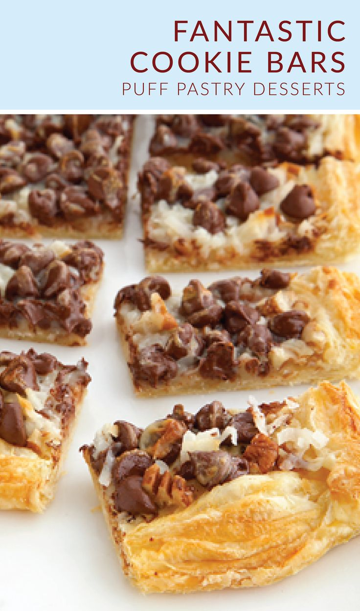 Your holiday cookie exchange just got a whole lot sweeter thanks to these Fantastic Cookie Bars. Pepperidge Farm® Puff Pastry Sheets form a golden, flaky crust. Then, add a mixture of pecans, coconut, chocolate, and sweetened condensed milk on top to complete this family-favorite dessert recipe.