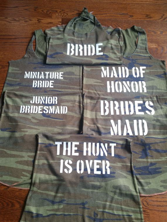 Two Sided The Hunt is Over Camo Bridal Party by TeamBrideDesigns