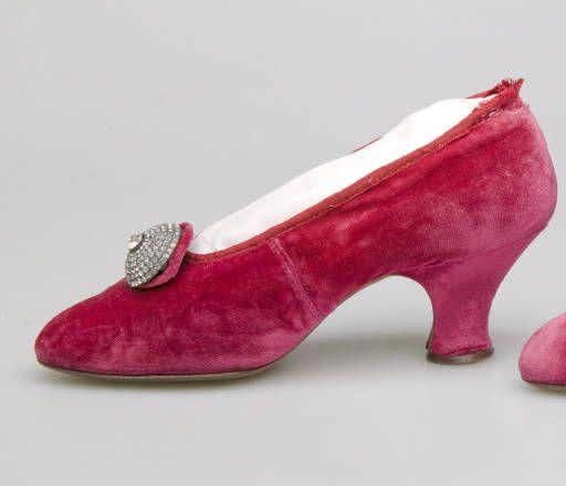 Shoes, ca. 1910. Silk velvet, rhinestone, metal. J. Thomas, Paris.: Silk Velvet, Baby French, Larger Circle, Circular Rhinestone, Pink Silk, Dark Pink, 1910 Pumps