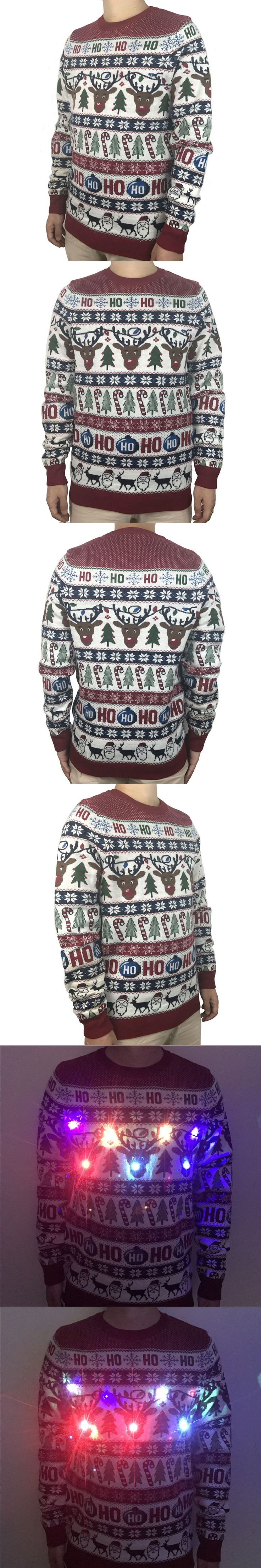 Funny Light Up Ugly Christmas Sweater for Men and Women Cute Reindeer Santa Patterned Xmas Pullover Jumper Plus Size S-2XL