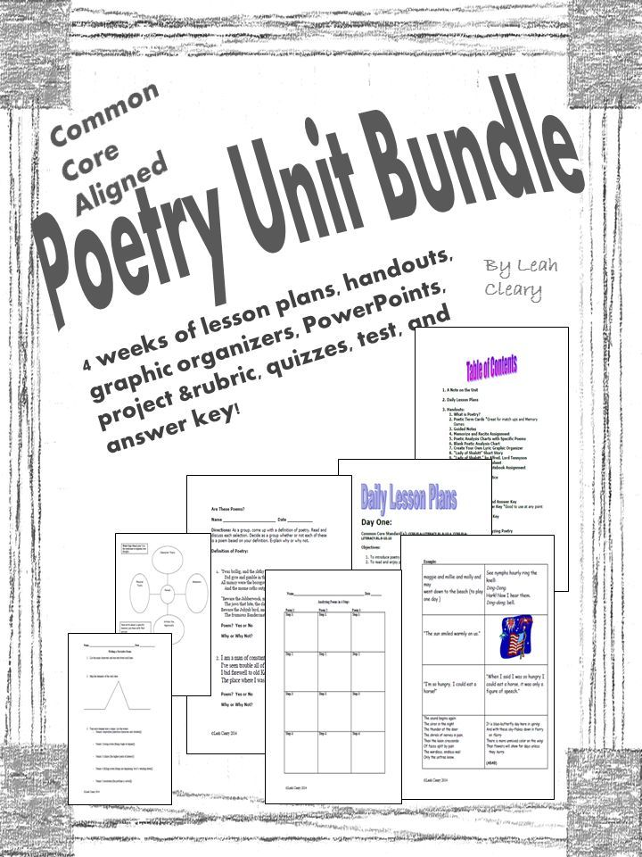 This is a complete, common core-aligned poetry unit. The