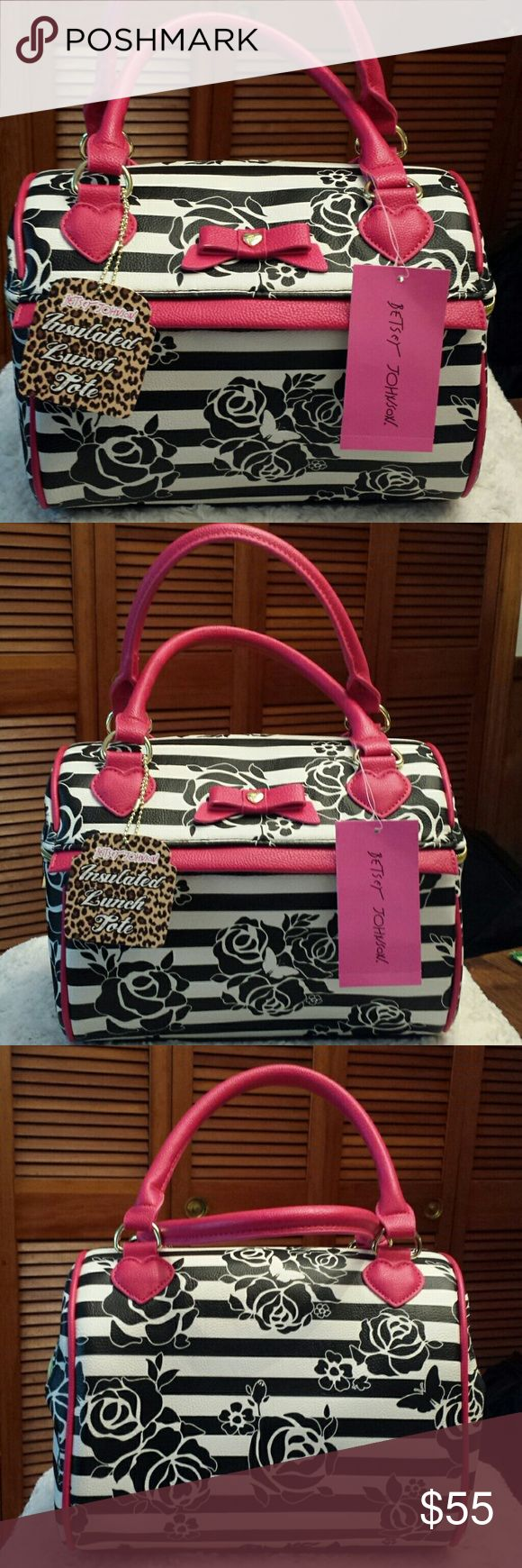 Betsy Johnson NWT Speedy Lunch Black Rose Tote Betsy Johnson NWT Black and White and Pink Rose Print Insulated Speedy Lunch Tote, Top Handle and Zippered Closure Betsy Johnson  Bags Totes