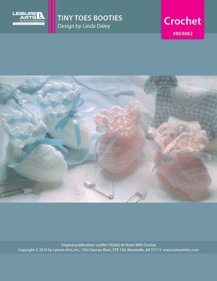Tiny Toes Booties eBook - Tiny toes will appreciate the warmth of these cozy booties. Ideal for shower gifts, both styles are made using baby fingering weight yarn for softness. The booties are trimmed with satin ribbons woven through eyelet rounds on the cuffs.