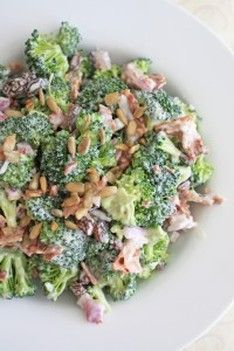 1 head broccoli, stems removed and florets cut into pieces 4 slices cooked bacon, crumbled 1/2 cup red onion, chopped 1/2 cup raisins (or cranraisins) 3/4 cup mayonnaise 2 tbsp white vinegar 1 1/2 tbsp honey 1/4 cup roasted no salt added sunflower seed kernels sea salt and freshly ground black pepper to taste In a small bowl combine mayo, vinegar, honey, salt and pepper. Mix well and set aside. In a large bowl combine broccoli, bacon, onion and raisins. Add mayo and seeds.