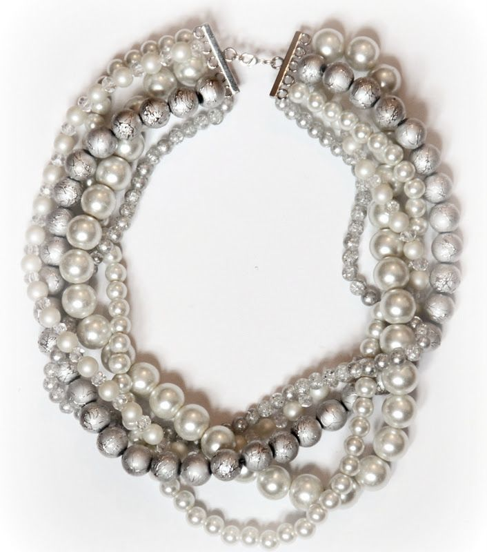 DIY Statement Necklace - this is a great project.  Substitute any strand with chain or crystal strands for your own unique look.
