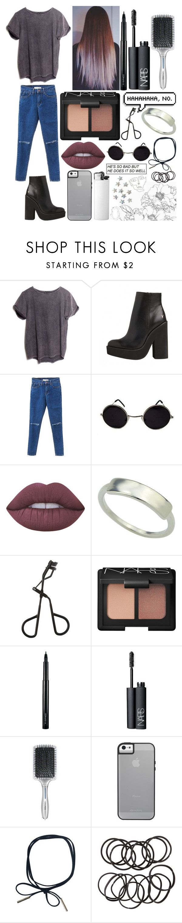 """Untitled #751"" by imcalledcharo ❤ liked on Polyvore featuring ATG, Lime Crime, Topshop, NARS Cosmetics, MAC Cosmetics, John Frieda, H&M and BANCI GIOIELLI"