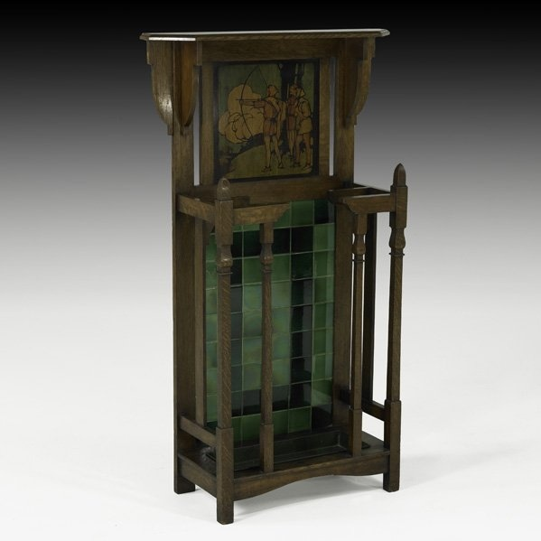 English Arts & Crafts Umbrella Stand. Oak with Painted Panel, and Tile.  Circa - 63 Best Arts & Crafts Furniture Images On Pinterest Arts