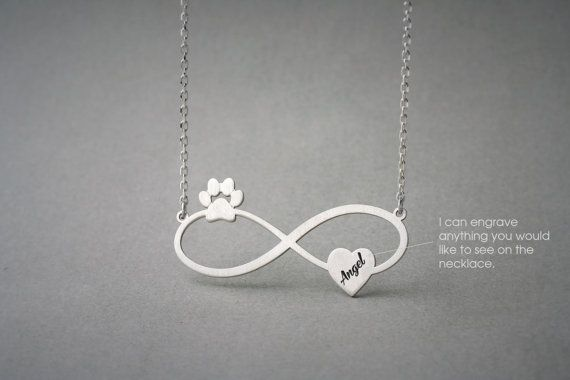 Personalised INFINITY PAW HEART Necklace  Paw Heart by HUDOCA