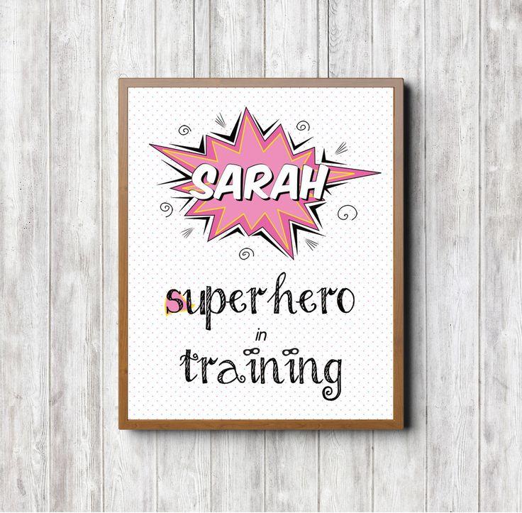 'Superhero in Training' Custom Print (Pink). Nursery print. Baby print. Nursery decor. Kids room. Kids room decor. Kids print. Custom baby gift. Custom nursery decor. Superhero print.