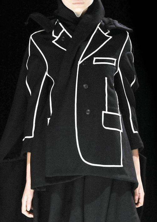 Black jacket with contrasting outline illustrating the jacket shape, pockets and lapels; fashion details // Comme des Garcons