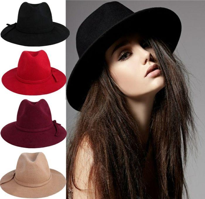 Chapeau capeline noir et tous les couleurs tenue du jour femme chique stylé