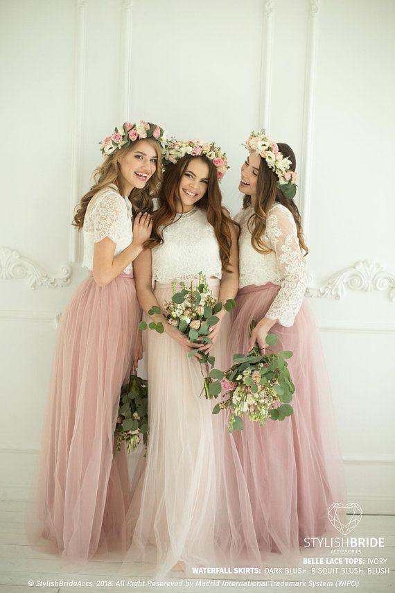 Blush Palette Tulle Bridesmaids Separates, Long Blush Tulle Waterfall Bridesmaids Skirts, Blush Prom Dresses