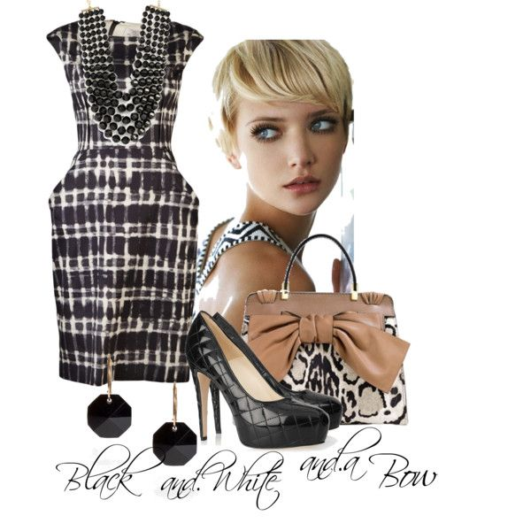 """Black and White and a Bow"" by moodycat on Polyvore"