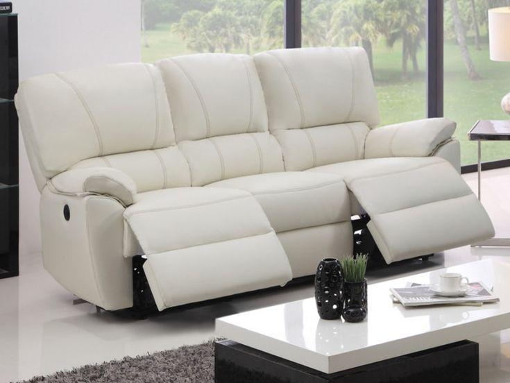canap 3 places relax lectrique marcis en cuir ivoire. Black Bedroom Furniture Sets. Home Design Ideas