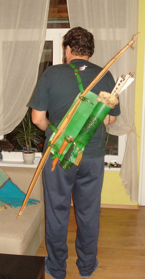 Combined Leather Back Quiver Bow & Knife Holder by MadeOfLeather, $250.00