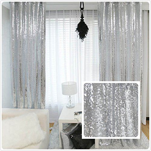 New Year 80% off Sequin Silver curtains, Select you size, 4FT*8FT Sparkly Silver Sequin Fabric Photography Backdrop, Best Wedding/Home/Party Fashion Decoration TRLYC http://www.amazon.com/dp/B018UCFG1M/ref=cm_sw_r_pi_dp_yvBzwb082JZWM