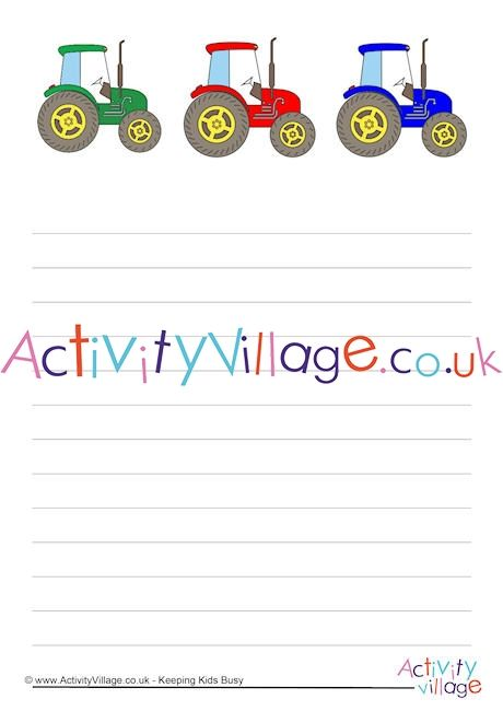 tractor writing paper blank lined handwriting lines available