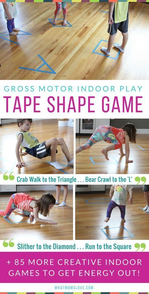 Best Active Indoor Activities For Kids, including fun games with a roll of tape! | Gross Motor Games and Creative Ideas For Winter (snow days!), Spring (rainy days!) or for when Cabin Fever strikes | Awesome Boredom Busters and Brain Breaks for high energy Toddlers, Preschool and beyond - see the full list at whatmomslove.com