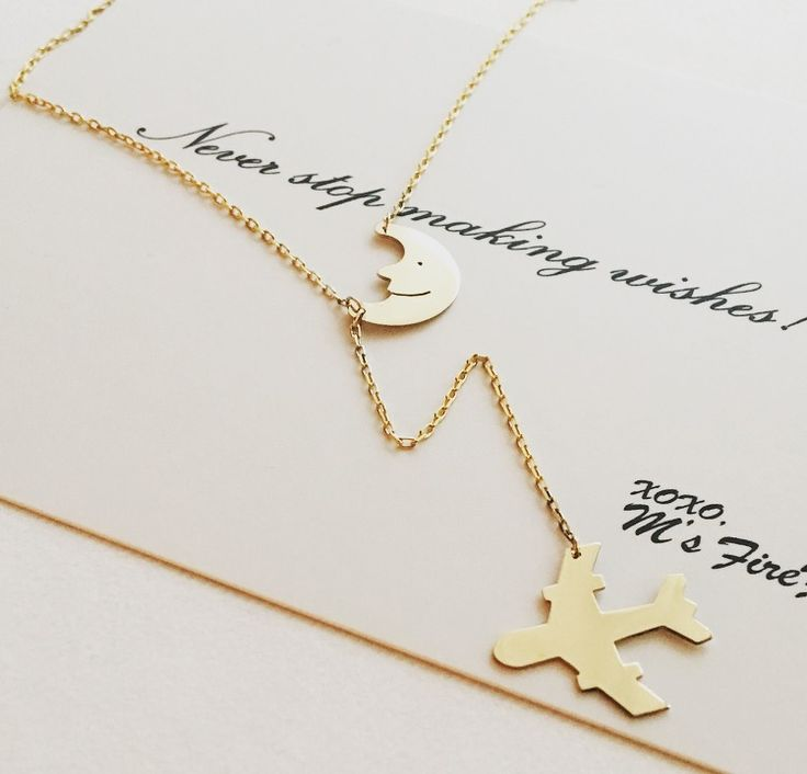 Moon & airplane necklace
