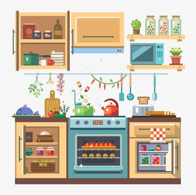 مطبخ كرتون شقة شقة الرسومات أدوات المائدة Png والمتجهات للتحميل مجانا Kitchen Clipart Flat Illustration Garden Illustration