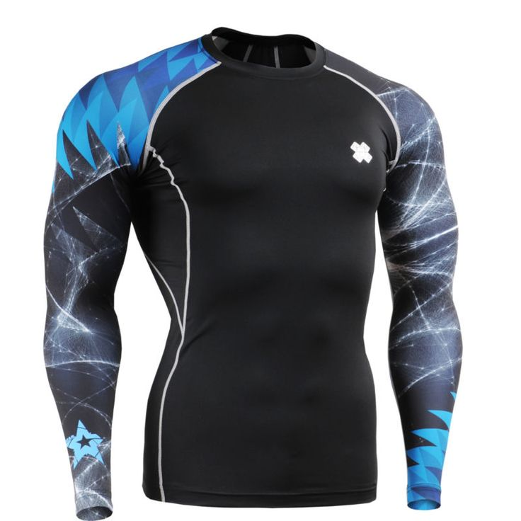 FIXGEAR mens compression skin tight shirts  baselayer running gear Top S~4XL