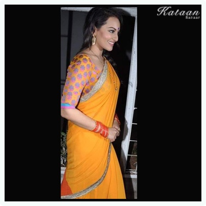 #Sonakshi Sinha in a simple Indian YELLOW saree