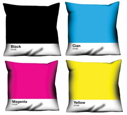 Fun and bright pillows in cyan, magenta, and yellow