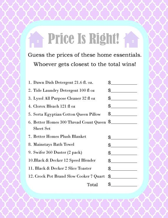 house warming party price is right game printed and