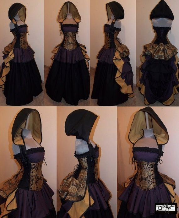 Purple and gold, Victorian - Gothic inspired, corsetted wedding dress with hood