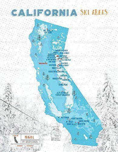 CA Ski Resorts Map, California State, 8X10 Inches, Print, Personalized, CA State Print, Powder Blue
