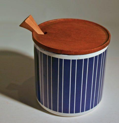 Vintage Finel Enamel Jam or Mustard Jar w Teak Lid Finland Kaj Franck | eBay