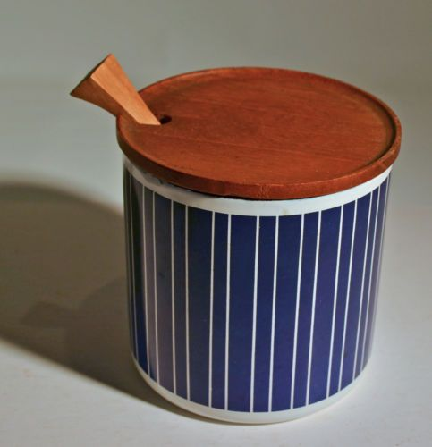 Vintage Finel Enamel Jam or Mustard Jar w Teak Lid Finland Kaj Franck   eBay